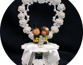 Charlie Brown & Peppermint Patty Peanuts gang Wedding Cake Topper  top OR glasses knife set OR book