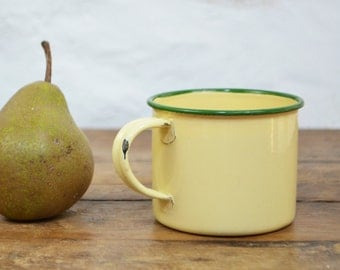 French Vintage enamel Cup Mug yellow green enamelware