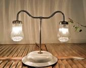 Table lamp, White lamp, Mason jar light, Cool lamp, Steampunk lamp, On SALE lamp, Desk lamp, Handmade lighting, Enamel lamp, StudiORYX