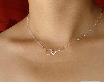 Best friend gift 2 Circle Necklace Interlocking Entwined Two Silver Circle Necklace Silver and Gold Mom Wedding Jewelry Bridesmaid Gift