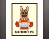 German Shepherd Dog Matted 8x10 Art Print - Fits 11x14 Frame