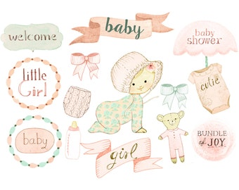 Baby girl clipart, nursery clipart, birth announcement, baby shower invites, baby shower printables