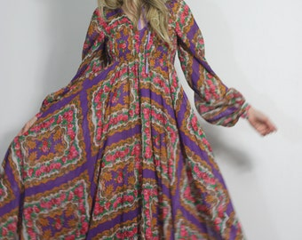 70s Hippie Dress Print Bohemian Poet Sleeve Romantic Maxi Gown with Full Sweeping Voluminous Skirt