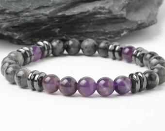Amethyst bracelet, Labradorite bracelet, hematite bracelet, Purple stones bracelet, men bracelet, yoga bracelet, zen bracelet, calming stone
