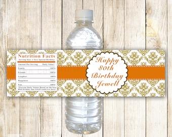 Damask Gold Orange Water Bottle Label - Adult Birthday Party Baby Girl Shower Vintage Wrappers Editable File INSTANT DOWNLOAD