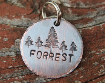Custom Dog ID Tag-Forrest Handstamped Pet Tag- Tag for Small Medium Dog-Personalized Dog ID Tag-Pet Tag-Dog Tag-Tag for puppy