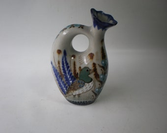 Vintage Reyna Handpainted Mexican Vase Pitcher