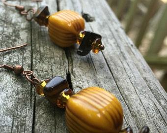Women's Earrings, Teen Girl Earrings, Mustard Dangle Earrings, Simple Earrings, Unusual Earrings, Fun Earrings