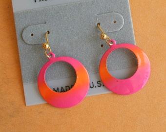 1980s GLAM Earrings...earrings. pink. retro. kitsch. glam earrings. indie. urban. aztec. metal. dangly. pierced ears. 1980s glam. folk