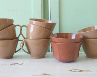 1960s Brown and Tan Cup Set...tea party. rare. royalon inc. melmac. retro. kitsch. vintage kitchen. mod. brown cups. tea cup. coffee. tea.