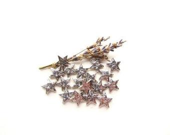 Silver Metal Star Beads