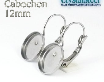 Cabochon pad on Hypoallergenic stainless steel french clip  12mm