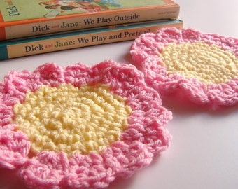 Crochet Sunflower Coasters Set of Two - Floral Flower Drink Coasters Pale Yellow And Pink Hand Crocheted - Acrylic Yarn
