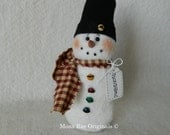 Snowman Doll ~ 8 Inches tall ~ White with Black Stocking Cap and Red Scarf