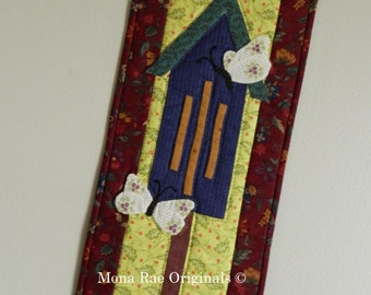 """Art Quilt ~ Butterfly House Wall Hanging ~ 9"""" x 22"""" with Butterfly Hanger ~ Cranberry, Blue, Green and ~ Mothers Day, Birthday, Wedding gift"""