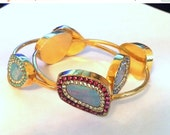 RESERVED FOR S Genuine Opal and Swarovski 18kt gold Vermeil Bangle set