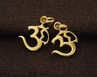 2 of 925 Sterling Silver 24k Gold Vermeil Style Ohm Charms 11.5x12mm. :vm0588