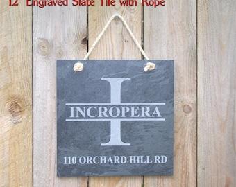 "Engraved Slate House Number Sign - 12"" slate tile custom engraved - Wedding Gift, House Warming Gift"