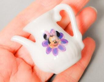 SALE... Vintage miniature white porcelain tea pot, coffee pot, toy Mickey Mouse