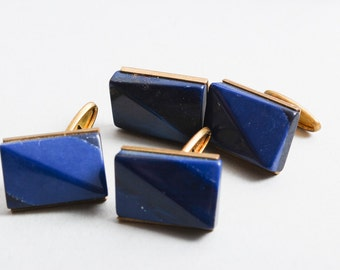 Two Pairs of vintage metal cuff links with blue plastic embellishment