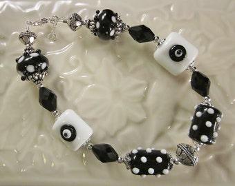 "Sterling Silver Bracelet - ""Classic Black & White""  -Artisan Lampwork Glass, Crystals, Unique, OOAK, SRAJD"