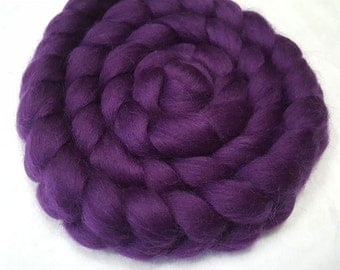 """Corriedale Combed Top/Roving - 4 oz - Eggplant Purple - 27.5 Micron and 3.5"""" Staple Length"""