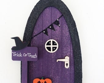 Personalised Halloween Fairy Door - Purple and Black Magical Witch Door - Halloween Decoration - Halloween Gift for Children
