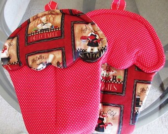 Handmade Cupcake oven mitt set  with red polka dots and Italian cook  themed oven mitts potholders