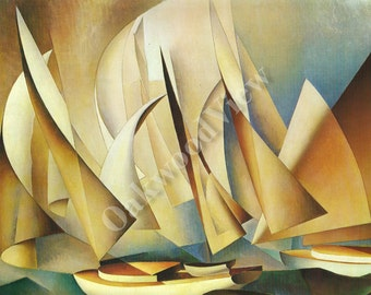 Pertaining to Yachts and Yachting Print by Charles Sheeler, Vintage 9x12 Oil Painting Reproduction, Abstract Sailing Ships, FREE SHIPPING