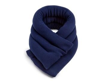 Last One 40% Off 20x6 Heat Wrap Navy Blue Light Weight Microwave Neck Heat Wrap, Flax Seeds, Anti-pil Fleece Cover