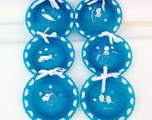 Vintage Westmoreland Blue Art Glass Zodiac Plates Wall Hanging Astrology Set of 6