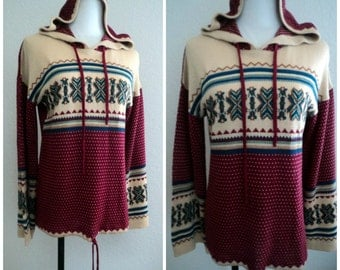 Vintage 70s Hippie Sweater Hooded Lightweight Flared Sleeves Rich Colors Aztec Design 38 bust