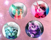 cat pin button badge - cat with lazer eyes unicorn horn caticorn galaxy background pin button badge- pastel goth pin button badge bow tie