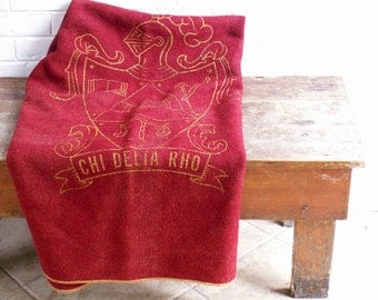Vintage Sorority Wool Stadium Blanket - Great Red and Gold Holiday Decor
