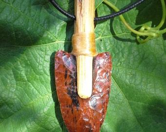 Flint Knapped obsidian arrowhead pendant necklace.  Native inspired.