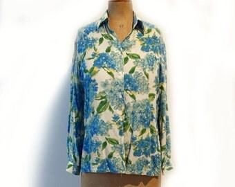 ON SALE Vintage designer Simona pure silk crepe blue and cream button down blouse sz AUS8 Us4