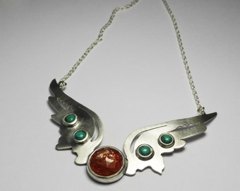 Hermes Wings Pendant with sun stone and turquoise