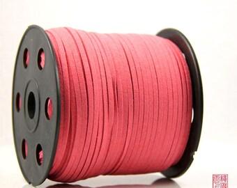 5M Watermelon Red Micro Fiber Suede Leather Cord
