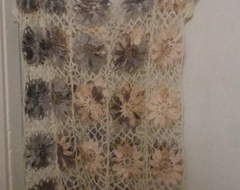 Crochet lace flowers cream natural gray boho hippie gipsy boho vest shirt top blouse Ready to ship OOAK