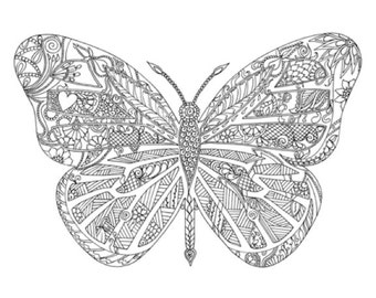 Adult coloring poster - Henna Butterfly