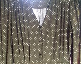 Vintage Ian Burns Vintage Retro 80's Dress Olive Polka Dot Australian Made