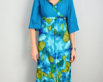 July SALE - 15% Off - Vintage 60s Lauhala Turquoise Dark Blue Olive Green HAWAIIAN Luau Three-Quarter Sleeve Maxi Dress // small