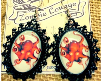 Red Octupus Earrings