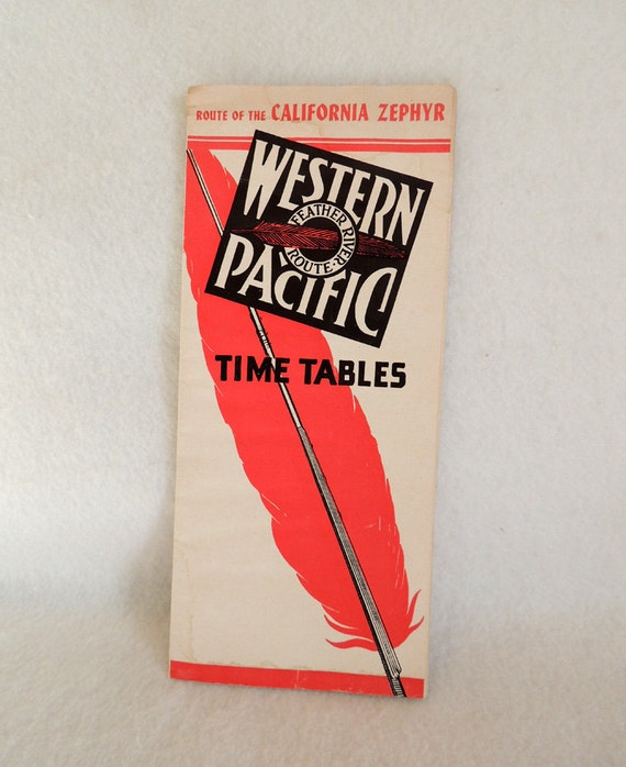 Vintage 1951 Western Pacific Railroad California Zephyr Time Table Brochure.. Feather River Route