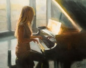 Original oil painting, Sunday Piano, impressionist female figure music painting