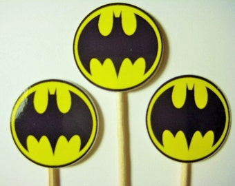 15 Batman Party Picks - Cupcake Toppers - Toothpicks - Food Picks - FP636