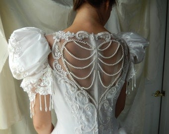 Vintage Satin Wedding Dress - Heart Design Wedding Dress - Size 10 Wedding Dress - Wedding Dress with Veil