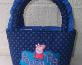 Little Girls Polka Dot Bag with Peppa Pig Embroidery Design