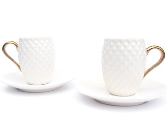 Coffee Set, Two Espresso Cups, Modern Handmade Cups with Saucers