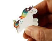 Unicorn Brooch, Unicorn Pin, Badge, Acrylic Brooch, Acrylic Glass